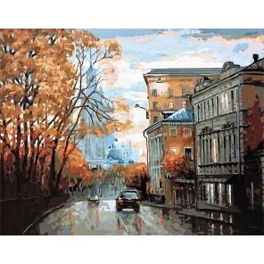 Осенняя улица Раскраска картина по номерам акриловыми красками на холсте
