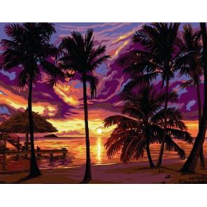 Сиреневый закат Раскраска картина по номерам акриловыми красками на холсте