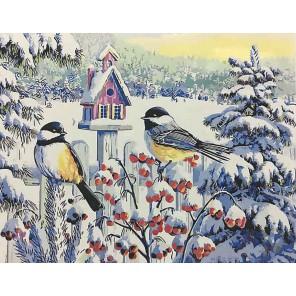 Синицы на рябине (художник Ким Корлиен) Раскраска картина по номерам акриловыми красками на холсте