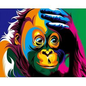 Радужная шимпанзе Раскраска картина по номерам акриловыми красками на холсте