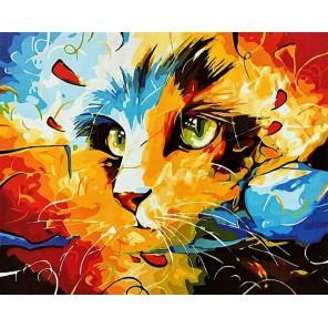 Кошка (художник Наушад Вахид) Раскраска картина по номерам акриловыми красками на холсте