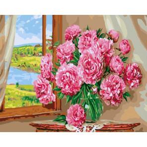 Нежный букет у окна Раскраска картина по номерам акриловыми красками на холсте