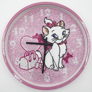 Кошечка Часы Алмазные на подрамнике с полной выкладкой