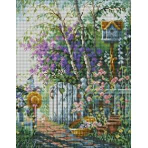 Садовая калитка Алмазная мозаика на подрамнике Цветной