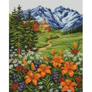 Альпийский пейзаж Алмазная мозаика на подрамнике Цветной