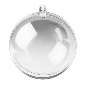 Шар 20см прозрачный Фигурка разъемная из пластика для декорирования