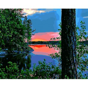 Закат на лесном озере Раскраска картина по номерам акриловыми красками на холсте