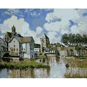 Море-сюр-Луэн (художник А. Сислей) Раскраска картина по номерам акриловыми красками на холсте