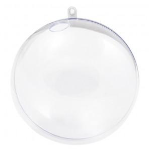 Шар 14см прозрачный с отверстием Фигурка разъемная из пластика для декорирования