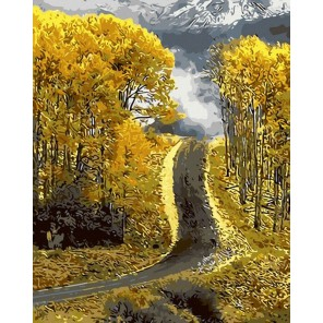Осенняя дорога Раскраска картина по номерам акриловыми красками на холсте