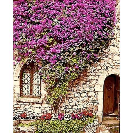 Цветущая стена Раскраска картина по номерам акриловыми красками на холсте
