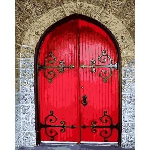 Красная дверь Раскраска картина по номерам акриловыми красками на холсте