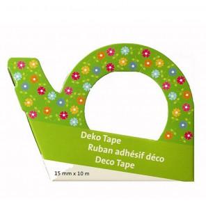 Мелкие цветочки на зеленом фоне Скотч декоративный для скрапбукинга Heyda