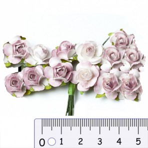 Розы чайные лиловые HY00100185010-1 Цветы бумажные Украшение для скрапбукинга, кардмейкинга