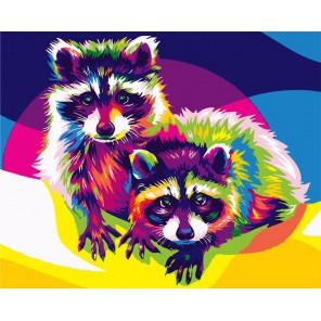 Любопытные еноты Раскраска картина по номерам акриловыми красками на холсте