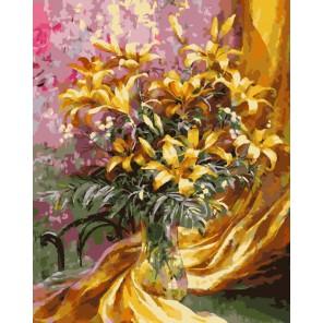 Золотистый букет Раскраска картина по номерам акриловыми красками на холсте
