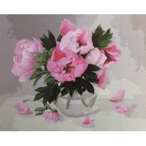 Пионы в стеклянной вазе Раскраска картина по номерам акриловыми красками на холсте