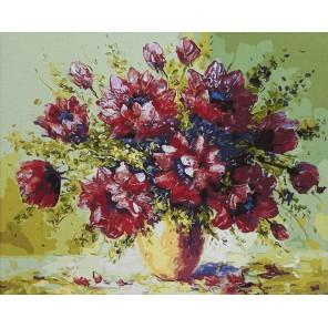 Бордовый букет Раскраска картина по номерам акриловыми красками на холсте