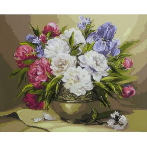 Цветочный натюрморт (художник Anca Bulgaru) Раскраска картина по номерам акриловыми красками на холсте