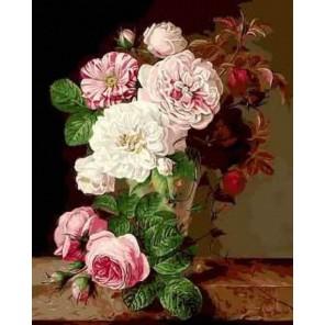 Розовые георгины Раскраска картина по номерам акриловыми красками на холсте