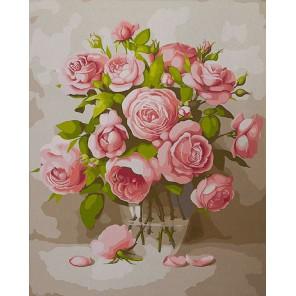 Розы в вазе Раскраска картина по номерам акриловыми красками на холсте