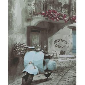 Винтажный мопед Раскраска картина по номерам акриловыми красками на холсте