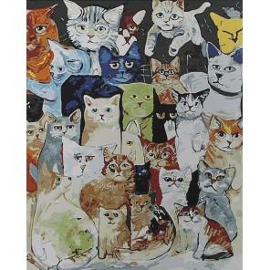Кошачий коллаж Раскраска картина по номерам акриловыми красками на холсте