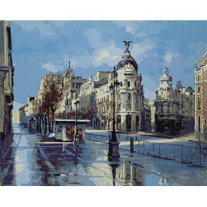 В Мадриде после дождя (художник Ricardo Sanz) Раскраска картина по номерам акриловыми красками на холсте