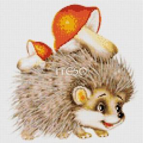 Ёжик с грибочками Алмазная мозаика на твердой основе Iteso