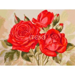 Алые розы Алмазная мозаика на твердой основе Iteso