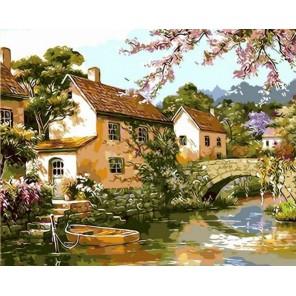 Цветущий пруд Раскраска картина по номерам на холсте Menglei