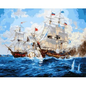 Морской бой Раскраска картина по номерам акриловыми красками на холсте
