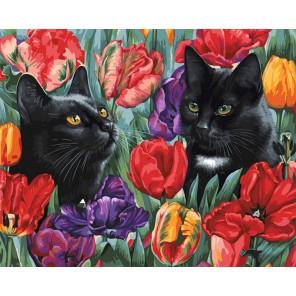 Среди тюльпанов (художник Ирина Гармашова) Раскраска картина по номерам акриловыми красками на холсте Белоснежка