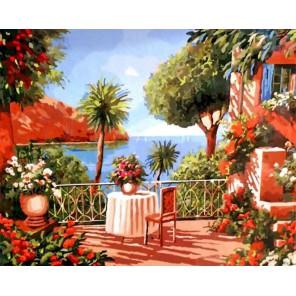 Средиземноморская веранда Раскраска картина по номерам на холсте