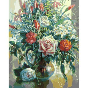 Натюрморт с белой розой (художник Елена Калашникова) Раскраска картина по номерам акриловыми красками на холсте Белоснежка