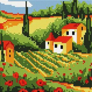 Сельский пейзаж Алмазная вышивка мозаика на подрамнике Белоснежка