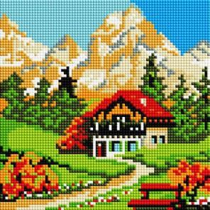 Домик у горы Алмазная вышивка мозаика на подрамнике Белоснежка