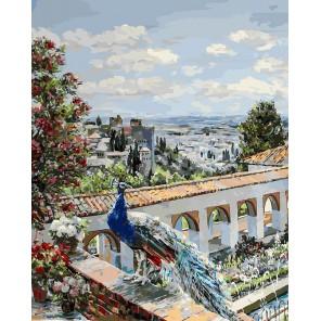 Сады Гранады с павлином Раскраска картина по номерам акриловыми красками на холсте Белоснежка