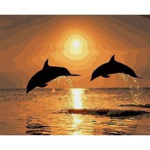 Дельфины на закате Раскраска картина по номерам акриловыми красками на холсте