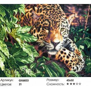 Леопард на охоте Раскраска картина по номерам на холсте