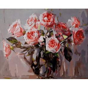 Розы в прозрачной вазе Раскраска картина по номерам на холсте