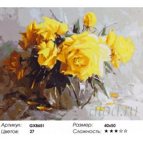 Желтые розы в стеклянной вазе Раскраска картина по номерам акриловыми красками на холсте
