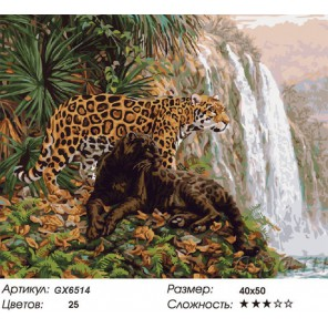 Леопарды у водопада (художник Бет Хозелтон) Раскраска картина по номерам на холсте
