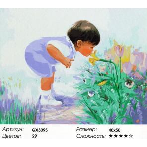 Количество красок и сложность На прогулке в саду Раскраска картина по номерам акриловыми красками на холсте