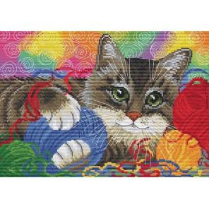 Котик с клубочками Набор для вышивания Белоснежка