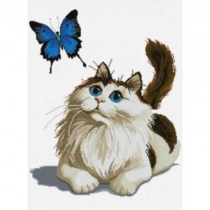 Кошка с бабочкой Набор для вышивания Белоснежка