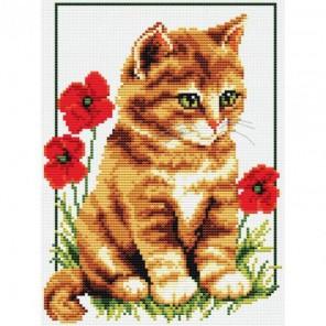 Котенок в цветах Набор для вышивания Белоснежка