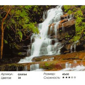 Лесной водопад Раскраска картина по номерам акриловыми красками на холсте
