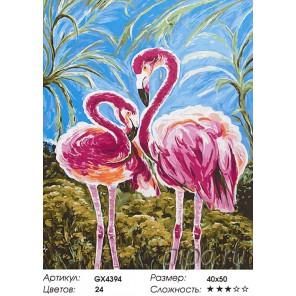 Любовь фламинго Раскраска картина по номерам акриловыми красками на холсте