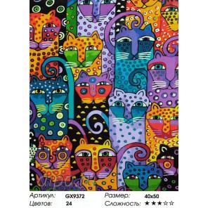 Разноцветные коты Раскраска картина по номерам акриловыми красками на холсте